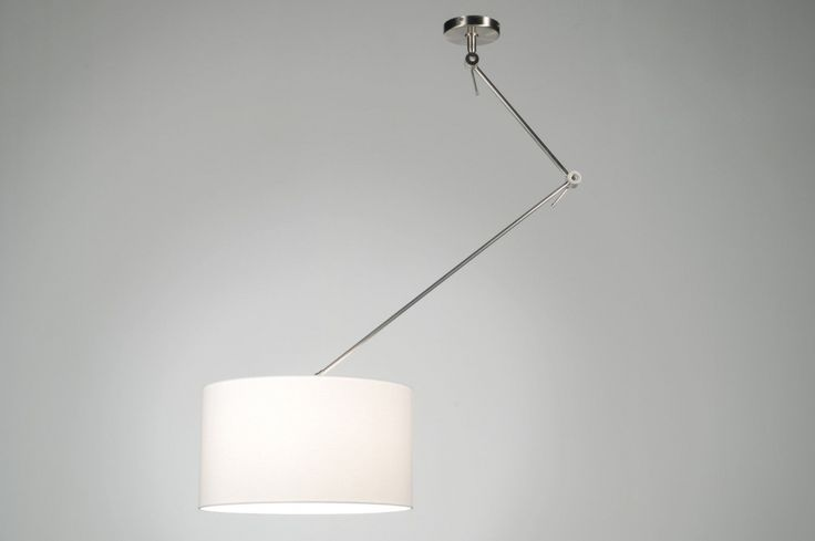 hanglamp 30005: modern, staal , rvs, stof, wit, rond ...