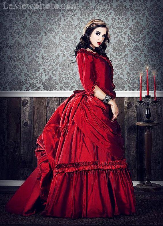 : Gothic Beautiful, Goth Girls, Dracula Victorian, Victorian Gothic, Gothic Victorian, Silk Gowns, Periodic Costumes, Dreams Dresses, Custom Silk