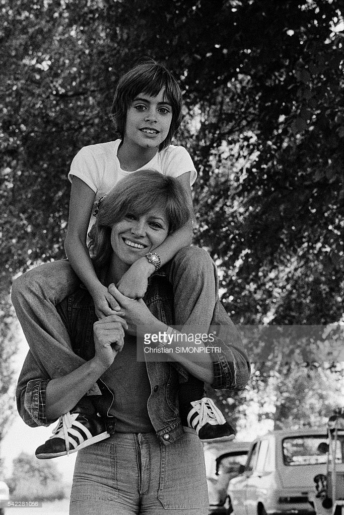 French actress Nathalie Delon relaxing with her son Anthony,9 (she had with actor Alain Delon), during the set of L'histoire très bonne et très joyeuse de Colinot Trousse-Chemise, written and directed by Nina Companéez.