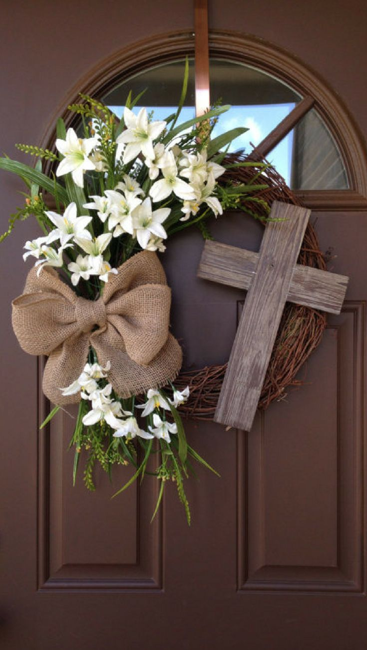 Easter Wreath with Cross - Rustic Grapevine Easter Wreath with Burlap Bow - Easter Decorations- Easter Decor - Easter Front Door Wreath, Spring decor, Spring wreath, home decor #ad