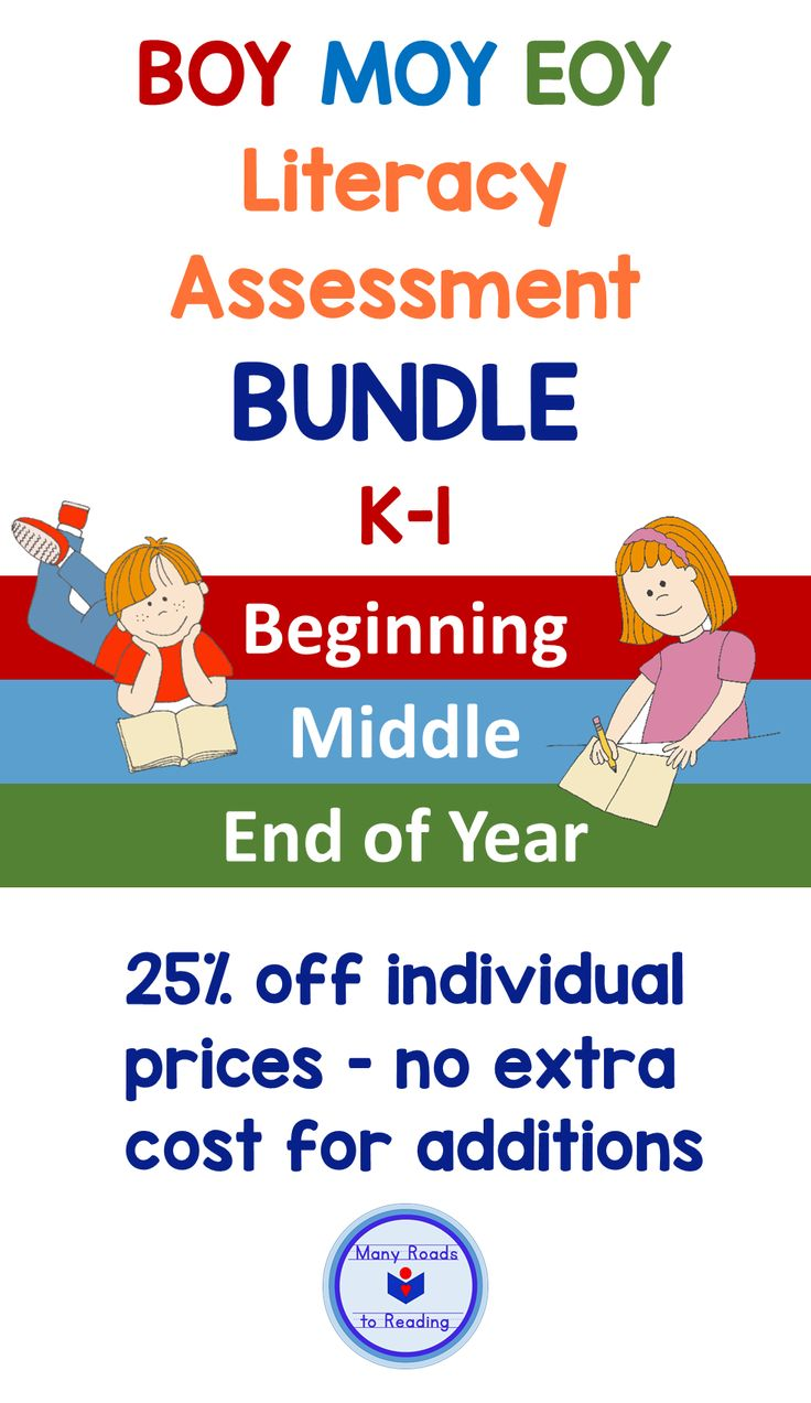 BOY MOY EOY Literacy Assessment BUNDLE 25% off original prices. Currently contains 5 assessment resources for beginning, middle, and end of the year: Diagnostic Literacy Assessment for Beginning Guided Reading: K-1, Phonological Awareness Assessment: PreK-2, Quick Letter Assessment: PreK-1,  Midyear Literacy Benchmark Assessment: Grade 1, EOY Literacy Benchmark Assessment: Grade 1.