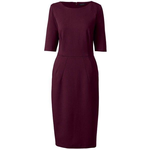 Lands' End Women's Petite Elbow Sleeve Ponté Sheath Dress ($79) ❤ liked on Polyvore featuring dresses, red, pocket dress, slim fit dress, petite sheath dress, petite dresses and red dress