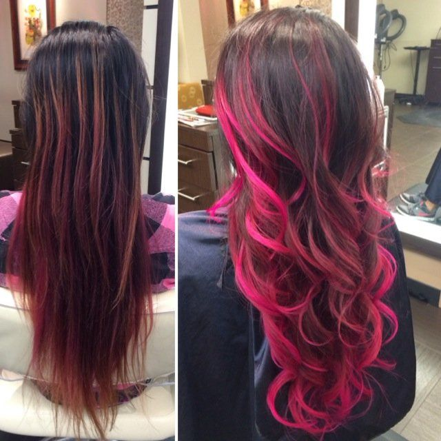Signature Balayageombr In Hot Pink Yelp Hair Hair