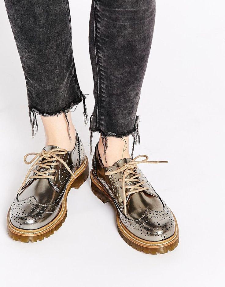 Bronx Bronze Brogue Flat Shoes
