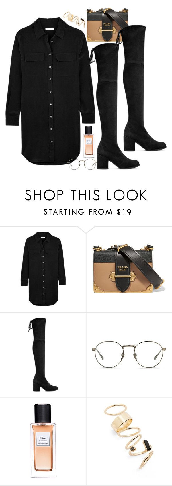 """Untitled #1800"" by samikayy76 on Polyvore featuring Equipment, Prada, Stuart Weitzman, Linda Farrow, Yves Saint Laurent and BP."