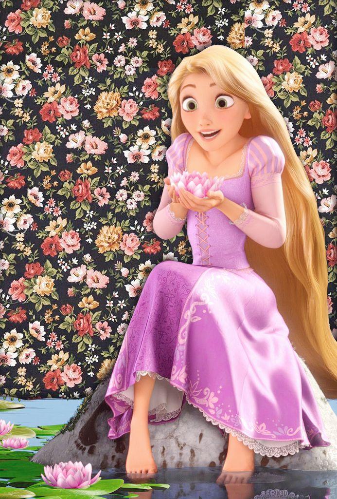 Rapunzel on flowery wallpaper