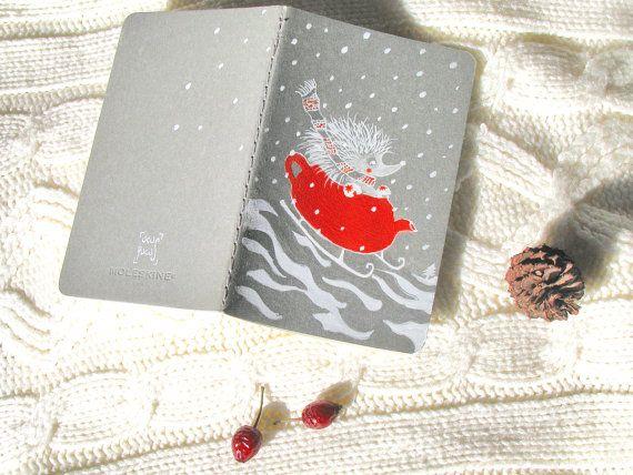 Christmas Hedgehog Cahier Handpainted Journal by ucuspucus on Etsy, $18.00
