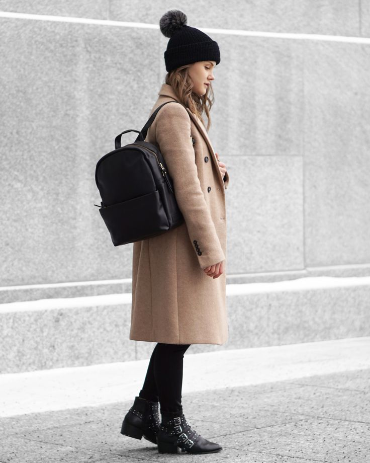A Little Detail - Black Bobble Hat // Black Beanie // Camel Wool Coat // Black Leather Backpack // Winter Fashion //  #outfit #winterfashion #backpack #streetstyle #womensfashion #outfit #camelcoat #bobblehat #beanie