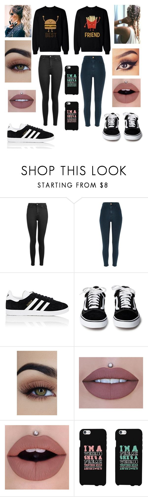 """Best friends"" by alicia-brockett ❤ liked on Polyvore featuring Topshop, River Island and adidas"