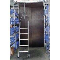 Regalleiter PREMIUM für Doppelregal drehbar Alu 9 Stufen Leiter fahrbar – PREMIUM-Line