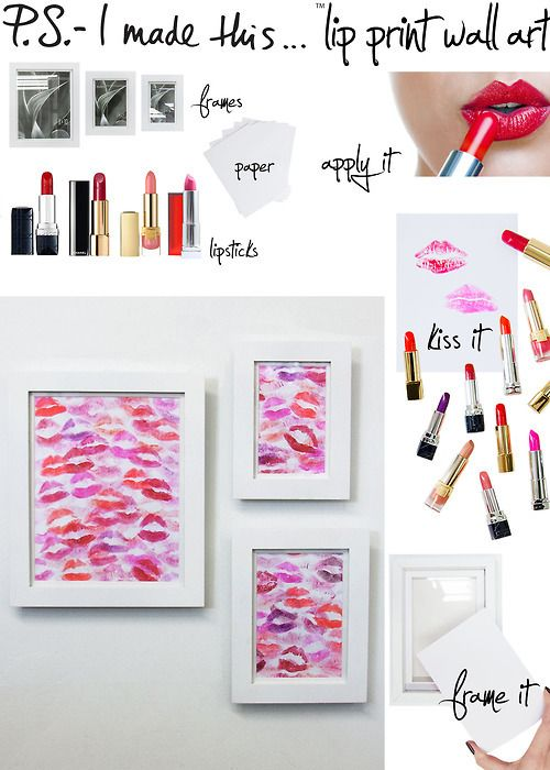 DIY lip print wall art with lipsticks in any red'ish & pink colors. Very cute decor.