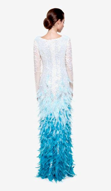 """Conception of designer Toth Bori: """"…maybe the most beautiful peace of the collection. The flying effect of the hundreds of hand stitched blue feathers creates a remarkable vision…  Spangly silk musseline dress , with emroidered feathers. Silk chiffon lining.""""  No.: 0017/Honora"""