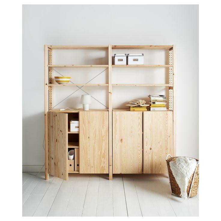 Ivar 2 Section Shelving Unit W Cabinet Pine Ikea Ivar