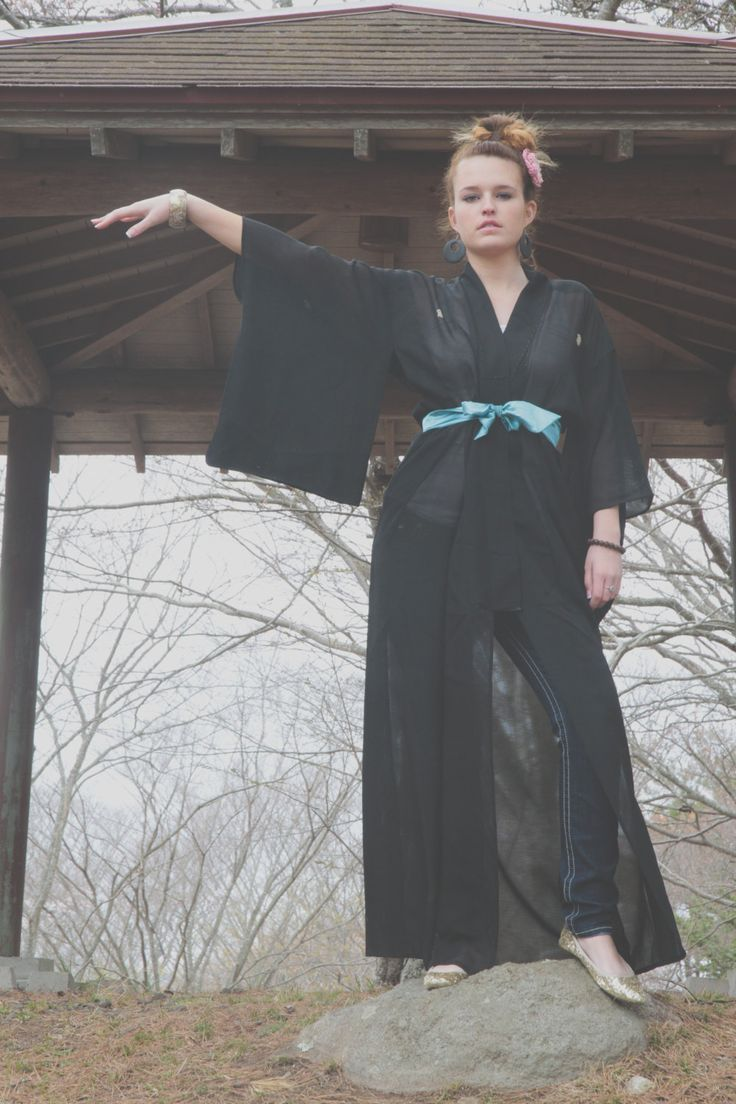 Japanese Vintage Black Filmy Kimono, Costume, Robe, Bourdoir by CJSTonbo on Etsy