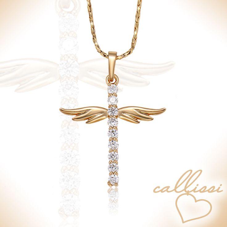 ♥  elegante 18k vergoldete Halskette mit wunderschönem Kreuzanhänger ♥  Durch die Vergoldung verfärben sich unsere Schmuckstücke nicht