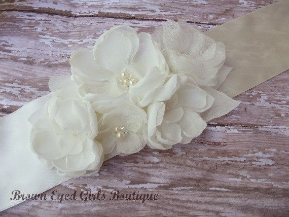 Ivory Chiffon and Organza Wedding Sash, Ivory Bridal Sash, Ivory Wedding Belt on Etsy, $65.00