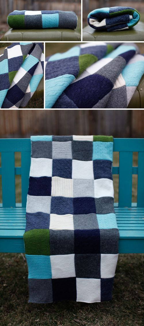 wool sweater quilt made from thrifted sweaters ... love the colors