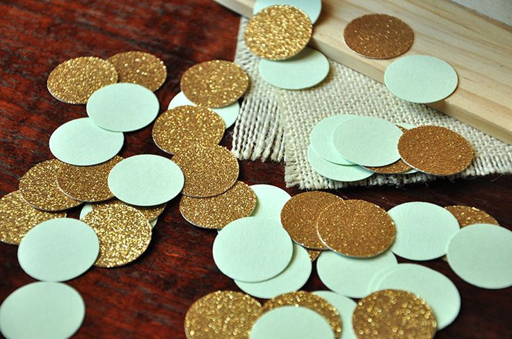 Love this table confetti for a 21st birthday party!  And mint and gold is such a cute color combo!