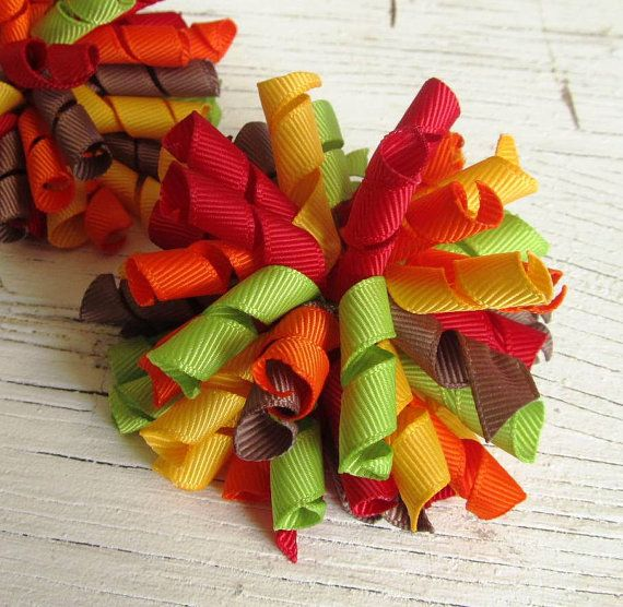 Thanksgiving Korker Hair Bows- Set of 2 Bows- Fall Hair Bows- Autumn Bows