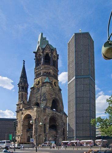 https://flic.kr/p/4ZX9A5 | Gedächtniskirche | The Kaiser-Wilhelm-Gedächtniskirche in Berlin, monument of the bomb war. I took this with a wide angle and corrected the vertical perspective. Berlin, June 2008