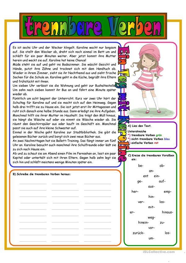 22 besten trennbare verben bilder auf pinterest deutsche grammatik verben und deutsch lernen for Gegen dativ oder akkusativ