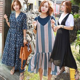 Gmarket - GAENSO Long dress / loose fit / long sleeve / solid ...