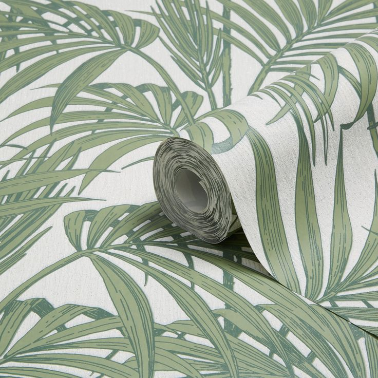 £18 10 metres Graham & Brown Julien Macdonald Honolulu Palm Green Foliage Glitter Effect Wallpaper | Departments | DIY at B&Q
