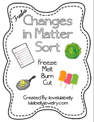 Science Changes in Matter Sort Printable from ilovelulabelly on TeachersNotebook.com -  (5 pages)  - Freezing, Melting, Burning, & Cutting Changes in Matter