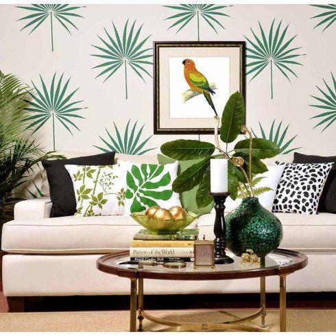 Palm Leaf Tropical Wall Stencil - trendy stencils for DIY home decor
