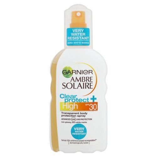 Garnier Ambre Solaire Suntan Clear Protect Transparent Body Protection Spray by Ambre Solaire. $26.70. Transparent protection Spray SPF 30. contains Mexory lSX. hydrates the skin and protects it. Garnier Ambre Solaire Clear Protect Transparent protection Spray SPF 30 (high) contains Mexory lSX an advanced patented filter this formula hydrates the skin and protects it against UVA and UVB rays which cause sunburn and long-term skin damage. SPF10 spray also contains a hydrating com...