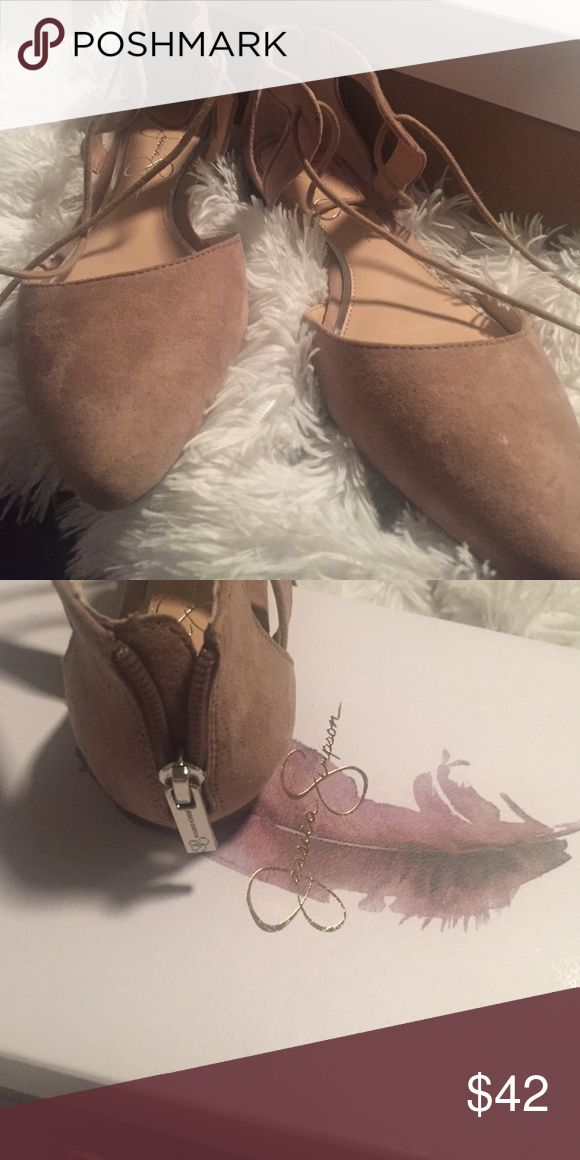 Jessica Simpson pointed ballet flats Nude colored worn once indoors, have a zip up back and ties for around the ankle. Super cute! Unfortunately a size too big for me, but 10/10 comfy Jessica Simpson Shoes Flats & Loafers