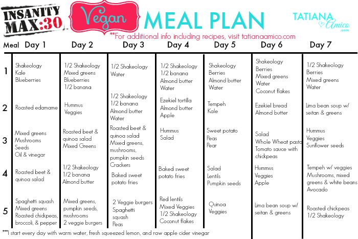 Insanity Workout Meal Plan Example | AV Workout