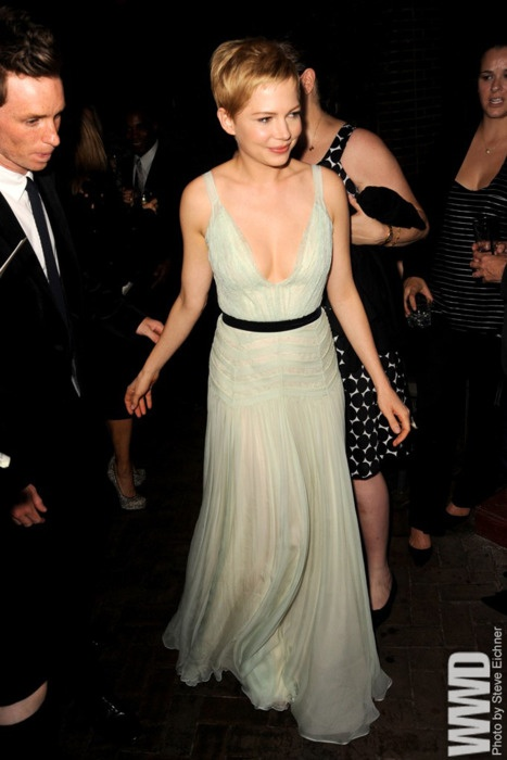 Michelle Williams in a floaty, dreamy mint and black Dior gown.  gorgeous.