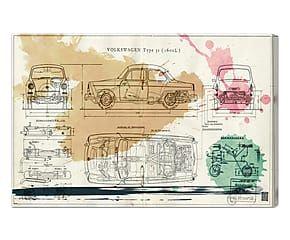 Stampa da parete canvas su legno Voiture Spring - 61x41x4 cm