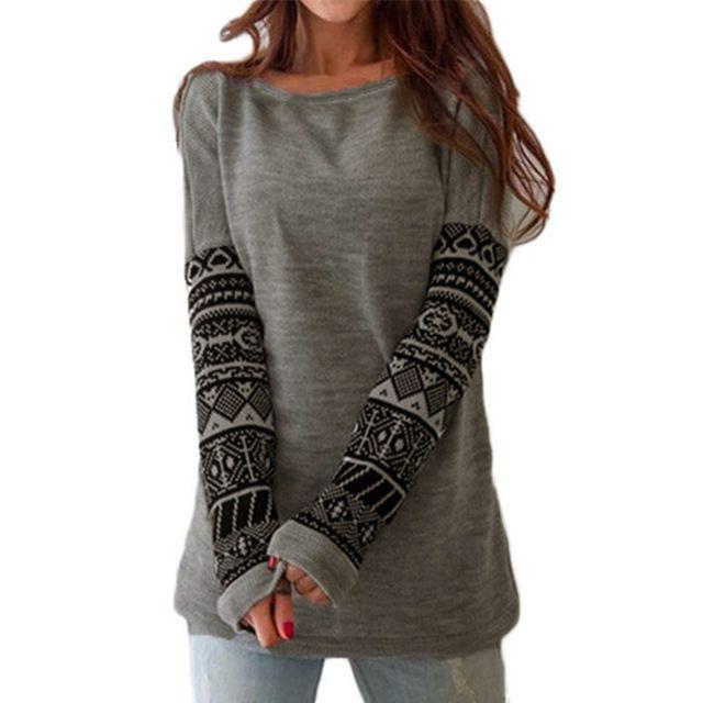 2016 YENI Kadın O Boyun Uzun Kollu Baskılı Pamuk Üstleri Tee gömlek Sonbahar Bahar Rahat Gevşek Üstleri T-shirt Blusas Artı Boyutu S-5XL