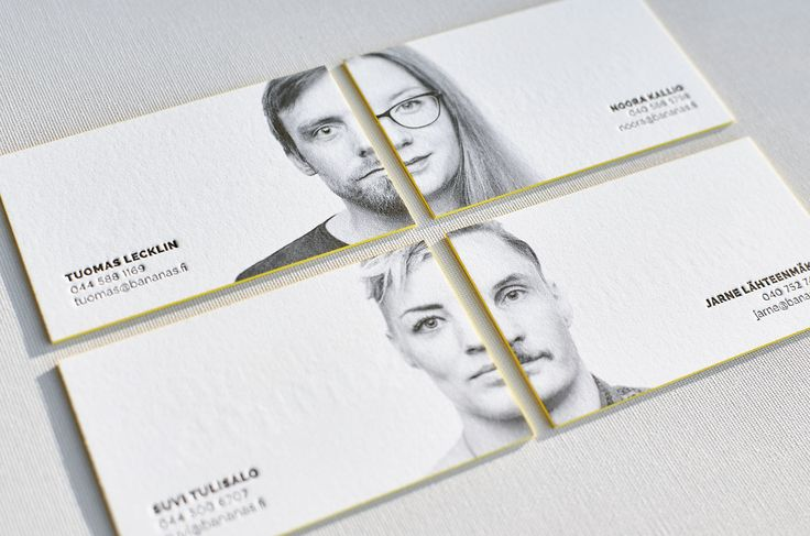 For us business cards with portraits always looked quite strange, until Finnish design company found great solution to make such card really stylish!