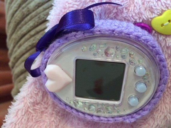 Pretty Purple Tamagotchi Cover by CottoncandyFanfare on Etsy  Crochet, Tamagotchi, vintage, ribbons, hand made