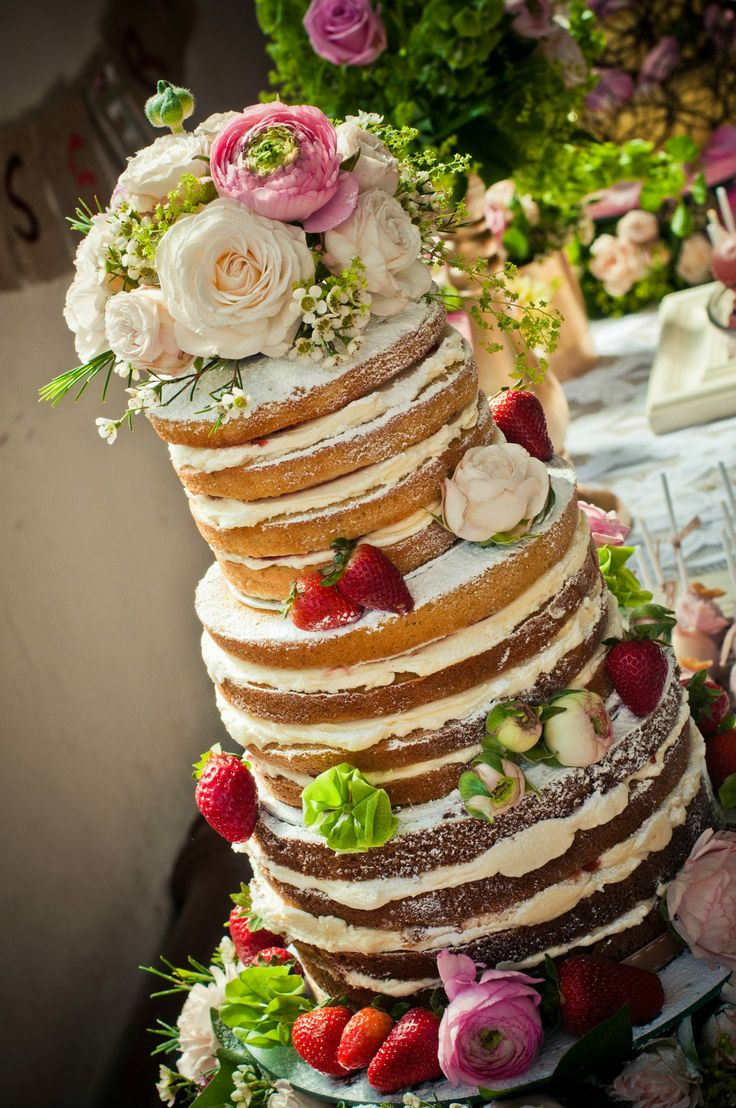 3 Tier Naked cake with Flowers & Strawberries