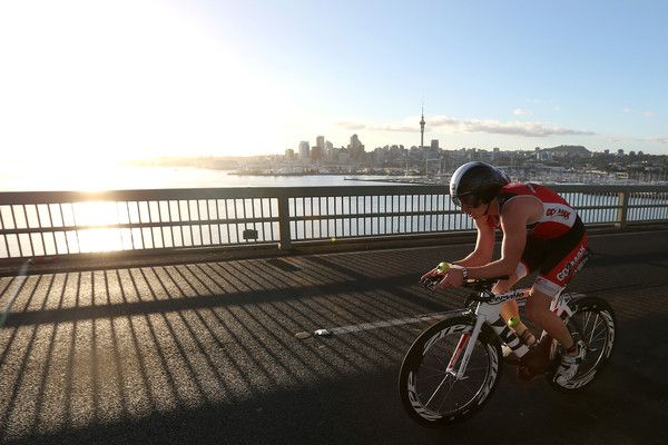 Cyclists head over Auckland Harbour Bridge during Ironman 70.0 on January 18, 2015 in Auckland, New Zealand. (January 17, 2015 - Source: Fiona Goodall/Getty Images AsiaPac)