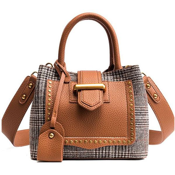 SheIn(sheinside) Studded Decor Houndstooth Shoulder Bag ($15) ❤ liked on Polyvore featuring bags, handbags, shoulder bags, color block, studded handbags, shoulder bag handbag, brown shoulder bag, color block handbags and houndstooth handbag