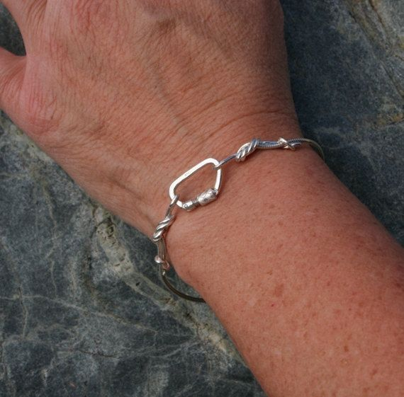 Sterling Silver Climbing Rope Chain Bracelet with Functional Carabiner... Always keep climbing safe!