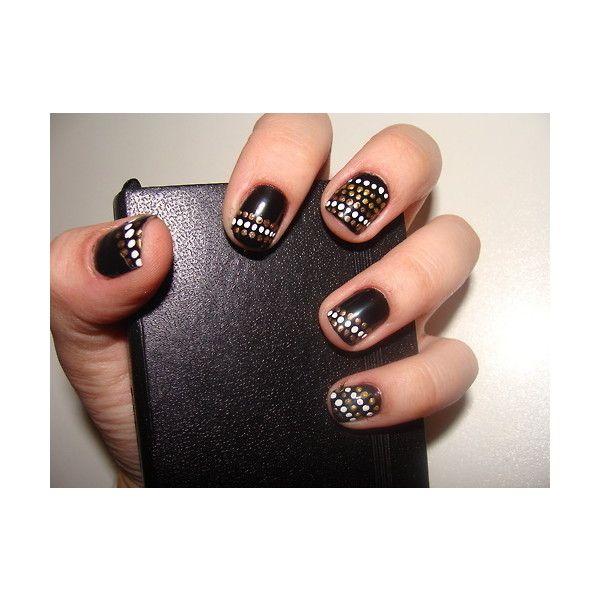 nail polish: Polka Dots, Nails Art, Nails Design, Black Nails, Black Dots, Nails Polish, Black Gold, Dots Nails, Gold Dots