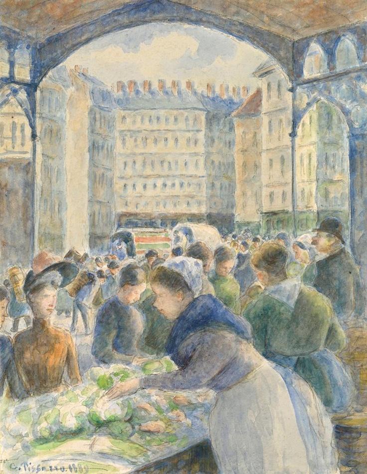 Camille Pissarro. Le marché les Halles, Paris. Watercolour. 1889.