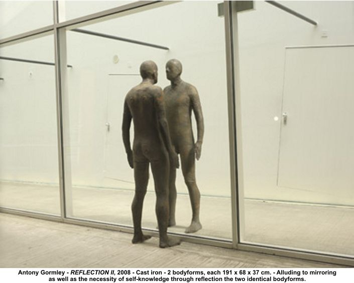 Anthony Gormley, Model of a man looking at himself in a mirror