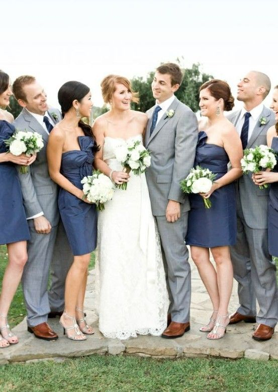 beautiful navy and grey wedding color palette. just needs coral colored flowers! Groomsmen more casual, slacks and grey vests with navy bowtie, coral boutonniere. groom- grey suit to make him stand out like the bride. :)