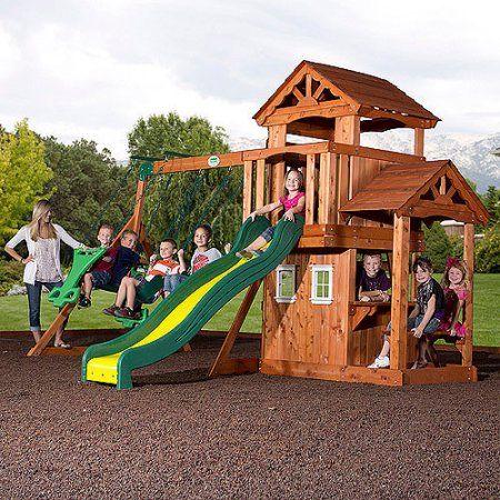 backyard discovery tanglewood cedar wooden swing set wood swing