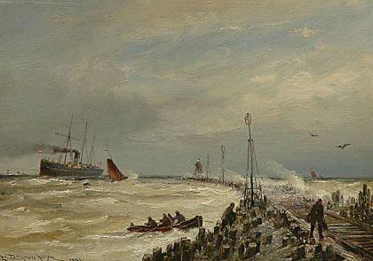 Cornelis Christiaan Dommelshuizen (Utrecht 1842-1928 Den Haag) Shipping near…