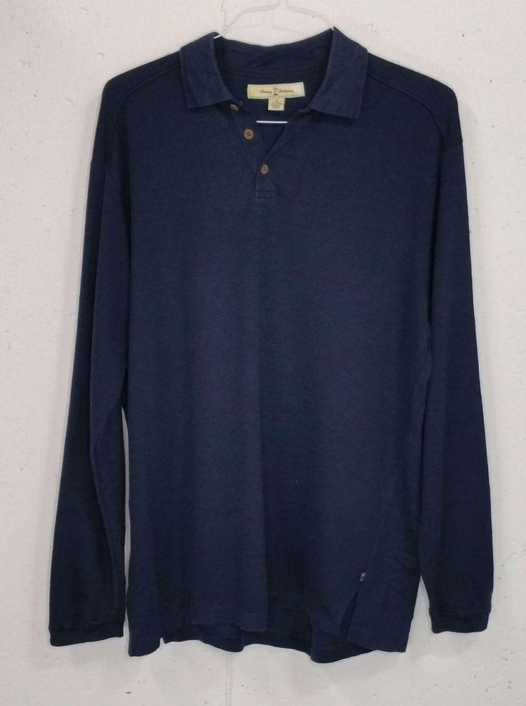 Tommy Bahama Mens Navy Blue 73% Silk 27% Cotton Long Sleeve Polo Shirt Medium M #TommyBahama #PoloRugby