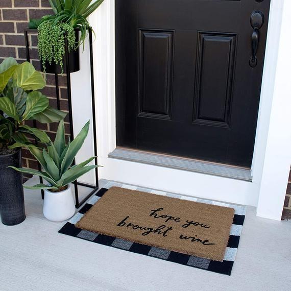 Buffalo Check Rug Black And White Outdoor Rug Buffalo Etsy In 2020 Plaid Rug Door Mat Checkered Kitchen Decor