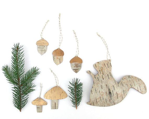 Birch bark woodland decorations set of 6, Forest-scape